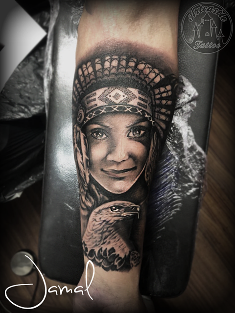 ArtCastleTattoo Tattoo ArtiestJamal Realistic Native American style portrait of daughter with bald eagle tattoo in black n grey on lower arm. Portraits