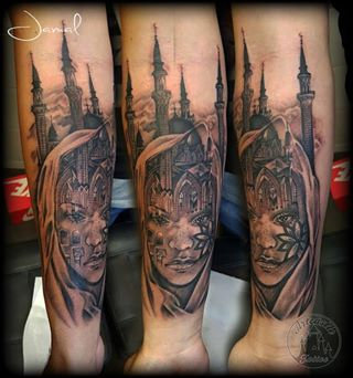 ArtCastleTattoo Tattoo ArtiestJamal Realistic Portrait Islam style 2nd Part of full sleeve Black n Grey