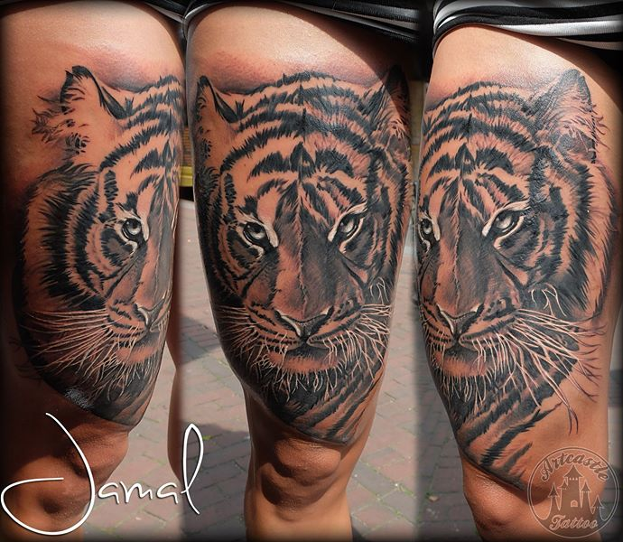 ArtCastleTattoo Tattoo ArtiestJamal Realistic Tiger tattoo with lots of details on the leg Black n Grey
