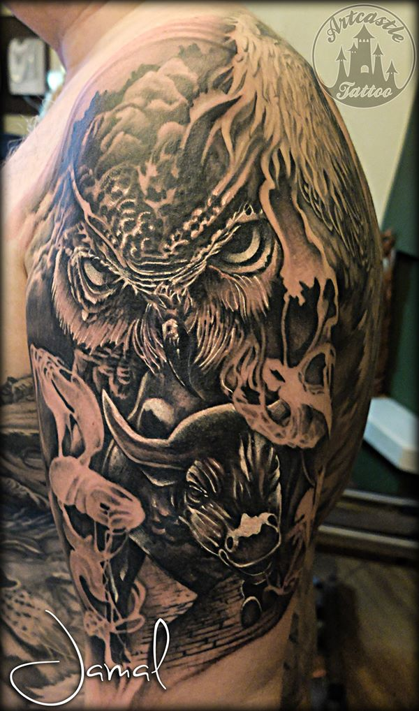 ArtCastleTattoo Tattoo ArtiestJamal Realistic piece of an Owl and a Bull with smoke and lots of details BlacknGrey
