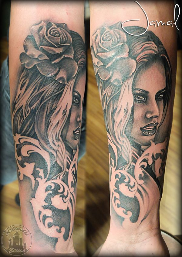 ArtCastleTattoo Tattoo ArtiestJamal Realistic portrait tattoo with a realistic rose and filigree Black n Grey