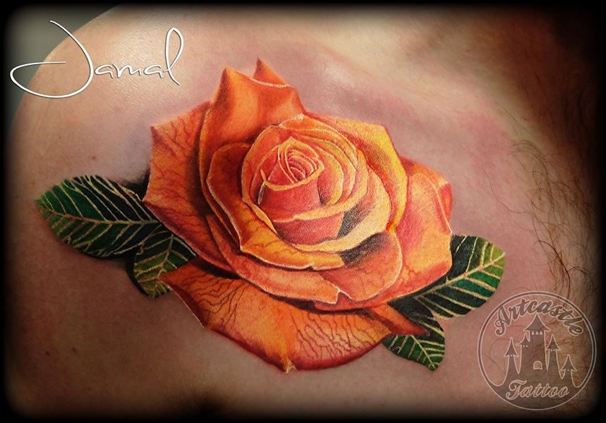 ArtCastleTattoo Tattoo ArtiestJamal Rose first session of a full sleeve Color