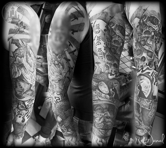 ArtCastleTattoo Tattoo ArtiestJamal Samurai Dragon and Skulls Sleeves