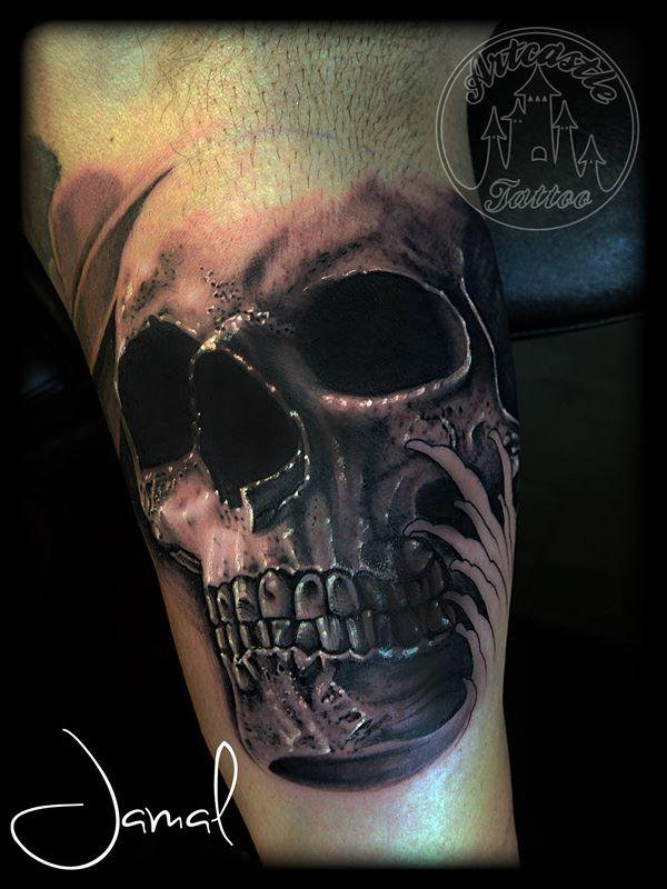ArtCastleTattoo Tattoo ArtiestJamal Skull Black n Grey