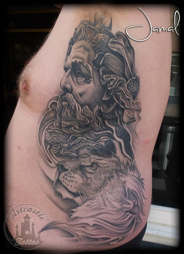 ArtCastleTattoo Tattoo ArtiestJamal Zeus and Lion Side Piece Realistic Style Black n Grey