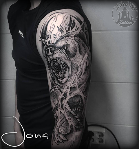 ArtCastleTattoo Tattoo ArtiestJona Bear piece in blackwork style part of a sleeve Blackwork
