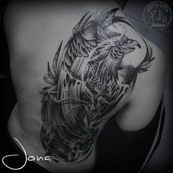 ArtCastleTattoo Tattoo ArtiestJona Blackwork Phoenix tattoo half back piece mostly healed Blackwork