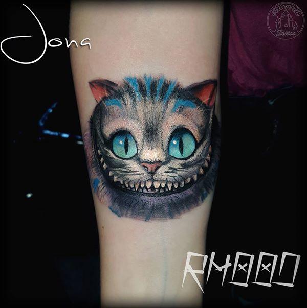 ArtCastleTattoo Tattoo ArtiestJona Cheshire cat from Alice in full color Color