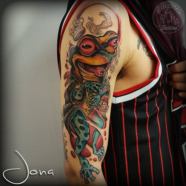 ArtCastleTattoo Tattoo ArtiestJona New school frog king in full color Color