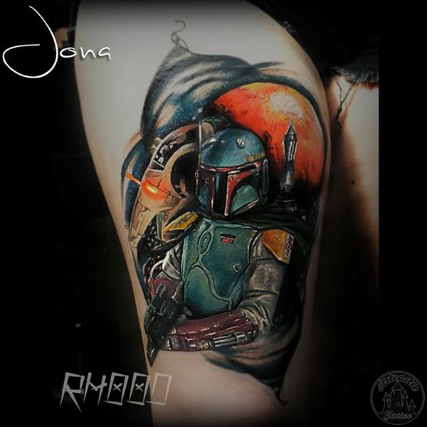ArtCastleTattoo Tattoo ArtiestJona Realistic Boba Fett tattoo in full color Color