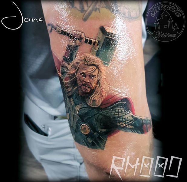ArtCastleTattoo Tattoo ArtiestJona Realistic Thor tattoo in color Portrait