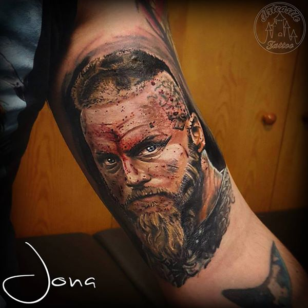 ArtCastleTattoo Tattoo ArtiestJona Realistic Vikings portrait in color Portrait