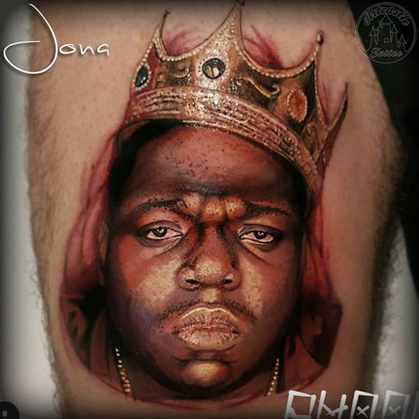ArtCastleTattoo Tattoo ArtiestJona Realistic portrait of Notorious Biggie Smalls in color Portrait