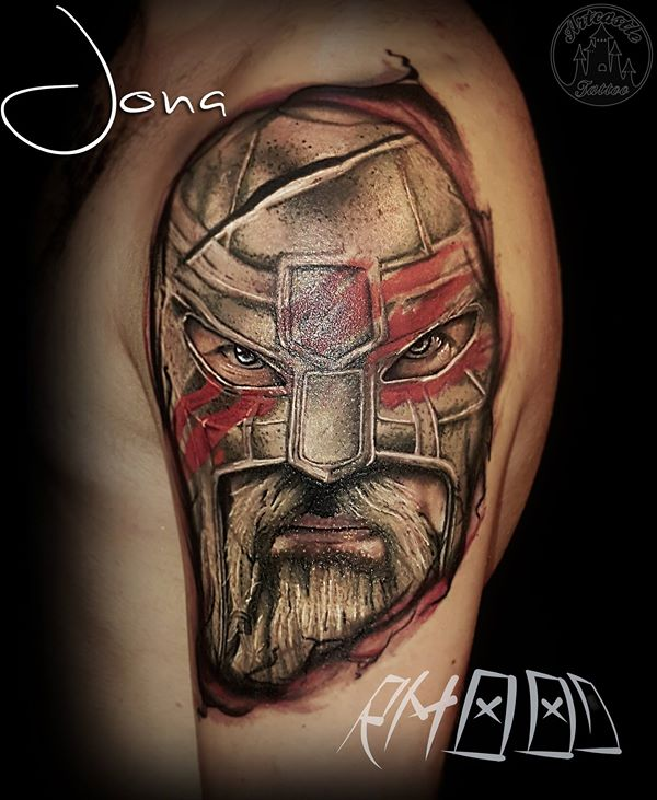 ArtCastleTattoo Tattoo ArtiestJona Realistic portrait of a warrior in color Portrait