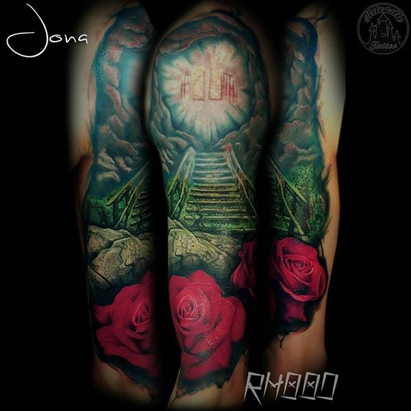 ArtCastleTattoo Tattoo ArtiestJona Realistic stairway to heaven with roses in color Color