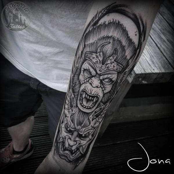 ArtCastleTattoo Tattoo ArtiestJona monkey with hanya mask blackwork blackwork