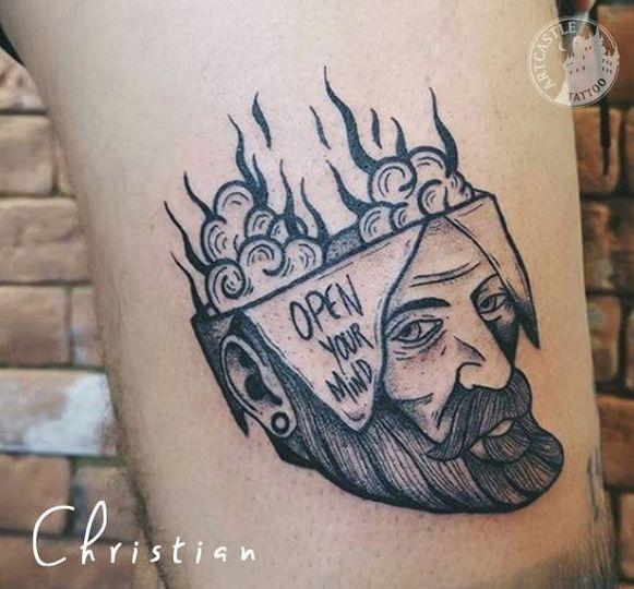 ArtCastleTattoo Tattoo ArtiestJona skull and text Blackwork