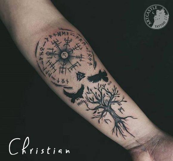 ArtCastleTattoo Tattoo ArtiestJona tree birds and symbols Blackwork
