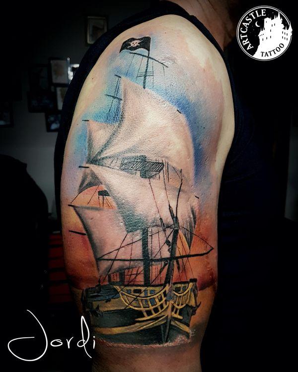 ArtCastleTattoo Tattoo ArtiestJordi Ship on water Color