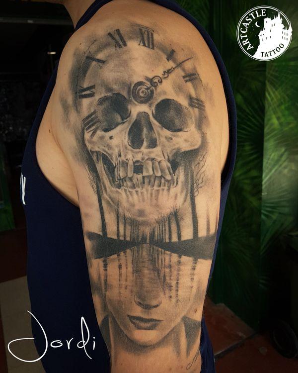 ArtCastleTattoo Tattoo ArtiestJordi Woman with skull and trees Realism
