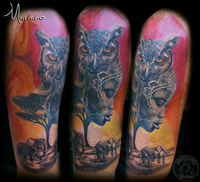 ArtCastleTattoo Tattoo ArtiestMariano African Piece with portrait and owl Color