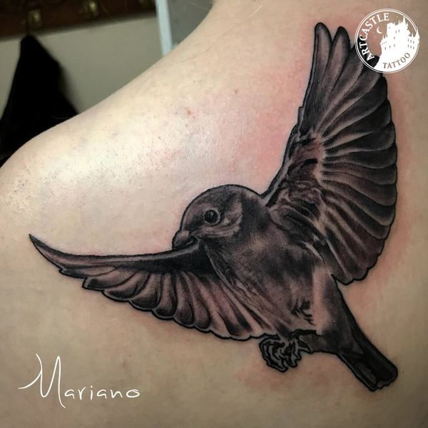 ArtCastleTattoo Tattoo ArtiestMariano Bird on shoulder Animal realism