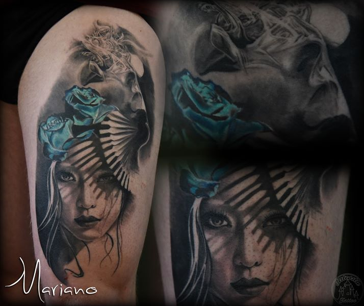 ArtCastleTattoo Tattoo ArtiestMariano Black n grey womans face with blue roses a fan with shadows and realistic smoke effects Portraits