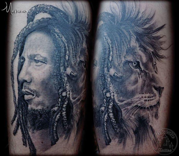 ArtCastleTattoo Tattoo ArtiestMariano Bob Marley portrait and Lion in realistic black n grey Portraits