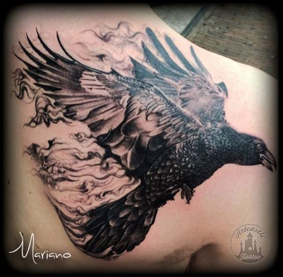 ArtCastleTattoo Tattoo ArtiestMariano Crow turning into smoke Black n Grey