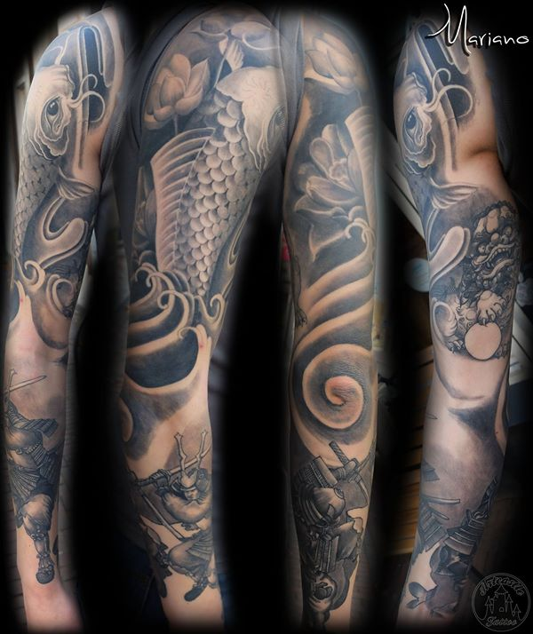 ArtCastleTattoo Tattoo ArtiestMariano Full japanese sleeve with a Koi Warrior and a Fu Dog in black n grey Sleeves