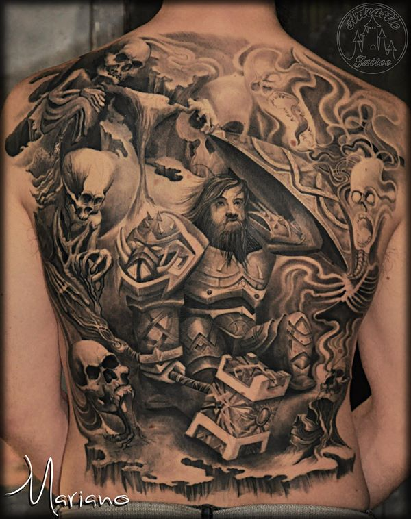 ArtCastleTattoo Tattoo ArtiestMariano Guardian and skulls realistic black grey backpiece with lots of details BlacknGrey