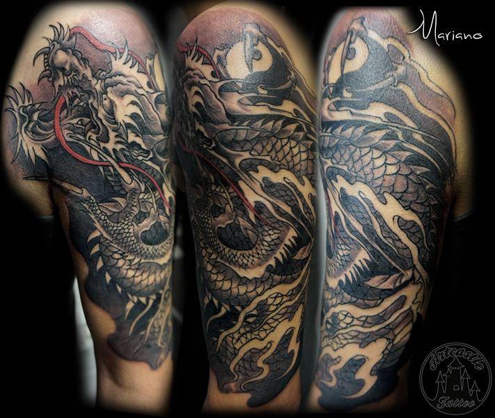 ArtCastleTattoo Tattoo ArtiestMariano Half sleeve of a Japanese Dragon Black n Grey