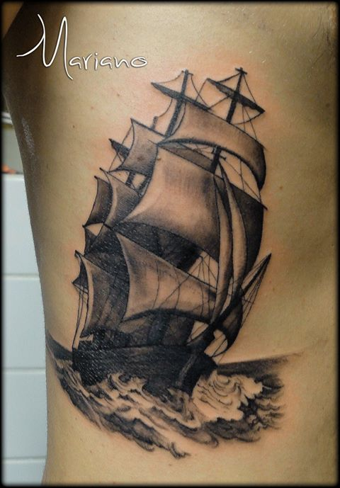 ArtCastleTattoo Tattoo ArtiestMariano Realistic Sailing Ship tattoo Black n Grey