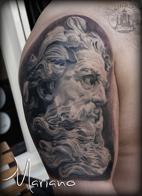 ArtCastleTattoo Tattoo ArtiestMariano Realistic neptune tattoo upper arm Black n Grey