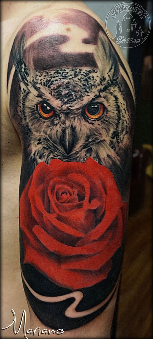 ArtCastleTattoo Tattoo ArtiestMariano Realistic owl with lots of details and a beautifull realistic red rose Black n Grey
