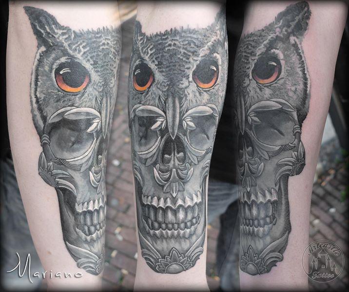 ArtCastleTattoo Tattoo ArtiestMariano owl with skull cover up. black n grey black n grey