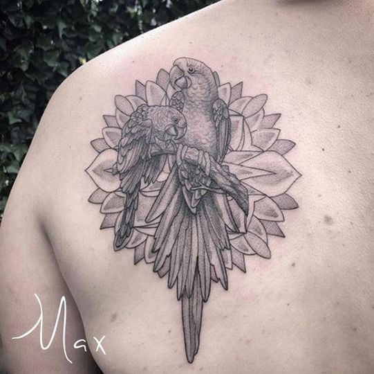 ArtCastleTattoo Tattoo ArtiestMax Birds of paradise on back