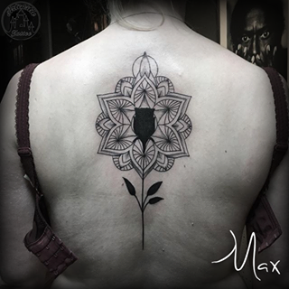 ArtCastleTattoo Tattoo ArtiestMax Custom mandala backpiece with solid blackwork rose down the spine Mandala