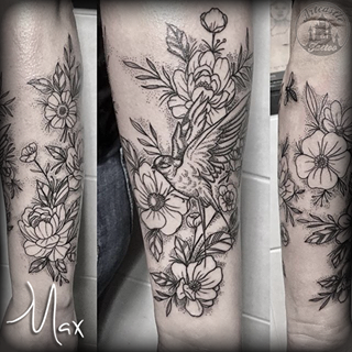 ArtCastleTattoo Tattoo ArtiestMax Decorative botanical flower tattoo with dotwork and bird with fine lines and details. Dotwork