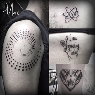ArtCastleTattoo Tattoo ArtiestMax Dotted spiral Big Bang Theory logo lettering and shaded diamond Black n Grey