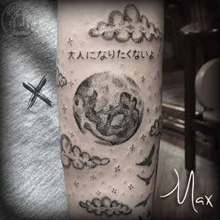 ArtCastleTattoo Tattoo ArtiestMax Dotwork full moon with clouds and stars and Japanese lettering Dotwork