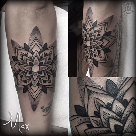 ArtCastleTattoo Tattoo ArtiestMax Dotwork mandala with striking black contrast and details Mandala