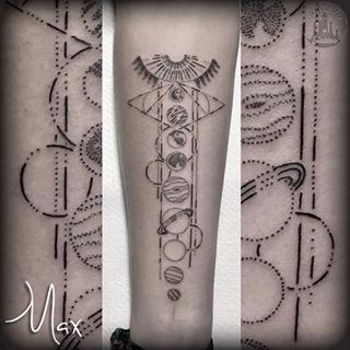 ArtCastleTattoo Tattoo ArtiestMax Dotwork solar system tattoo with geometric forms Dotwork