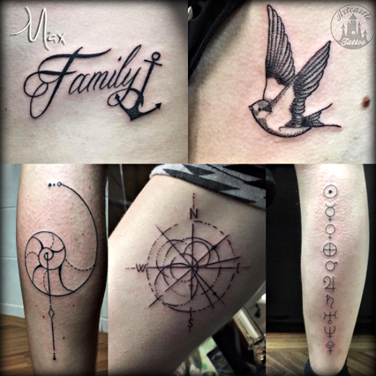 ArtCastleTattoo Tattoo ArtiestMax Family tattoo dotwork swallow and very tight lined compass BlacknGrey