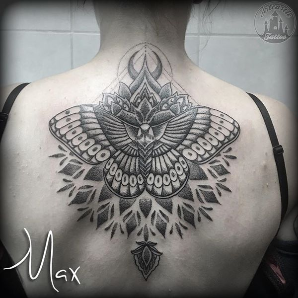 ArtCastleTattoo Tattoo ArtiestMax Large moth tattoo in blackwork dotwork with mandala and cresent moon on upper back Dotwork