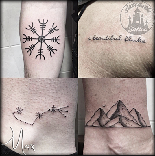 ArtCastleTattoo Tattoo ArtiestMax Line work handwritten lettering a constellation and dotwork mountain tattoo Blackwork