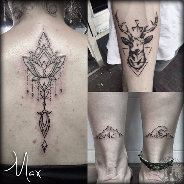 ArtCastleTattoo Tattoo ArtiestMax Mandala tattoo on the back deer tattoo with triangle and dotwork mountain and wave tattoo. Black n Grey