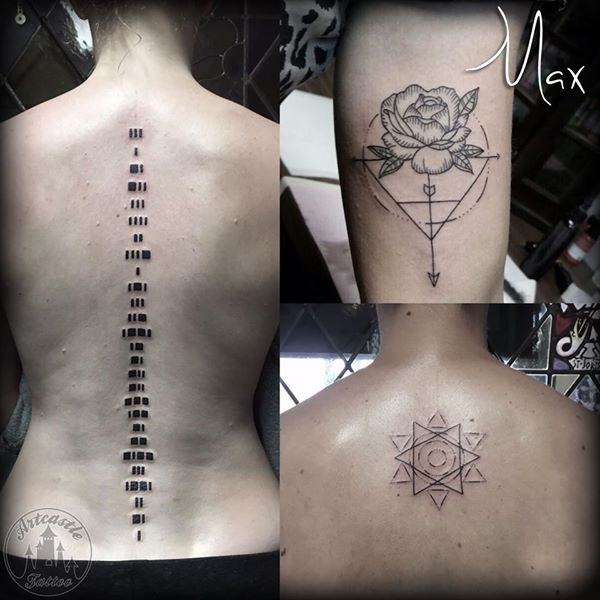 ArtCastleTattoo Tattoo ArtiestMax Morse code down spine rose with geometric line design Geometric linework design on back Blackwork