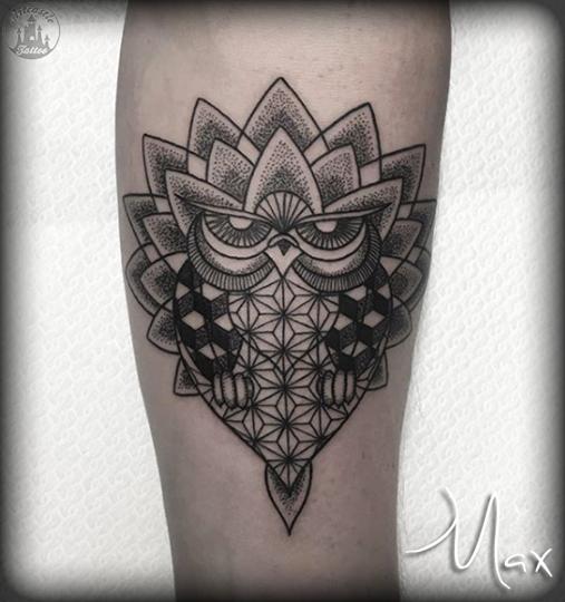 ArtCastleTattoo Tattoo ArtiestMax Owl with Mandala and geometric designs with dotwork Mandala