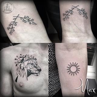 ArtCastleTattoo Tattoo ArtiestMax Small flower tattoos geometric lion on chest perfect sun tattoo blackwork Blackwork